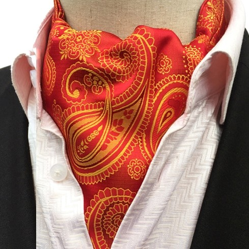 RED & GOLD PAISLEY CRAVAT