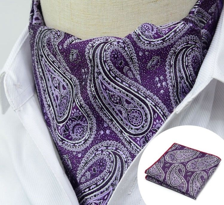 PURPLE FLORAL PAISLEY DESIGN CRAVAT
