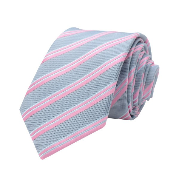 Regimental Stripe, Grey/Pink Including Pocket Square