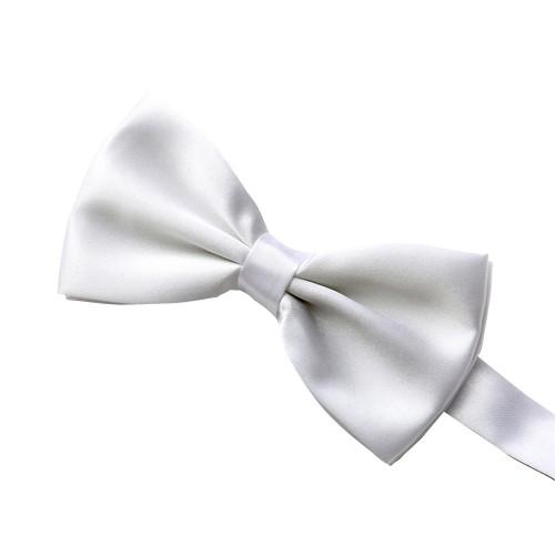 Elegant Solid Bow Tie, White