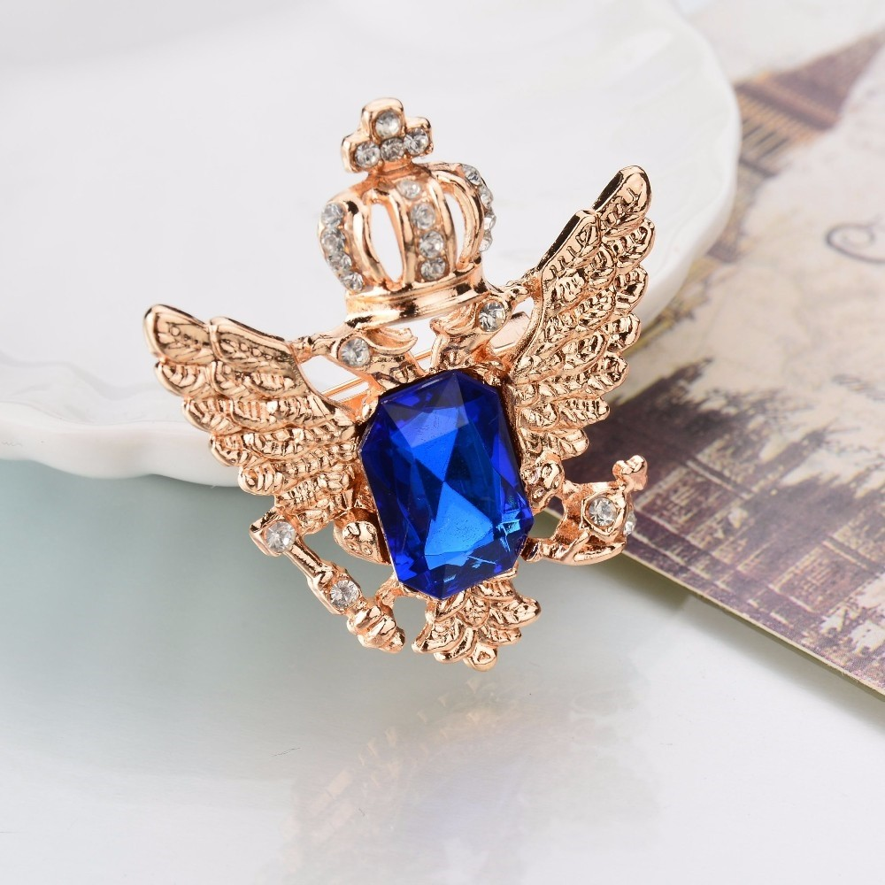 GOLDEN ROYAL BLUE  CROWN BROOCH