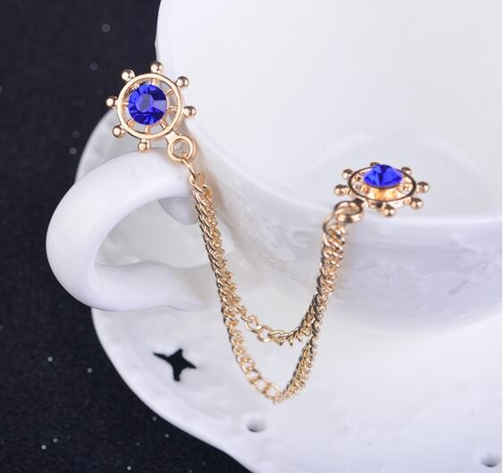 Gold Chain With Blue Crystal Dot