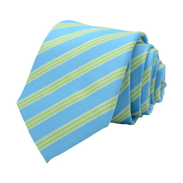Regimental Stripe, Sky Blue/Green Including Pocket Square