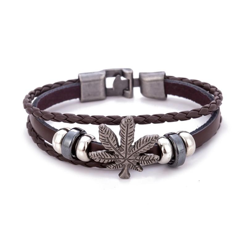 Weed  Leaf Charm Wristband