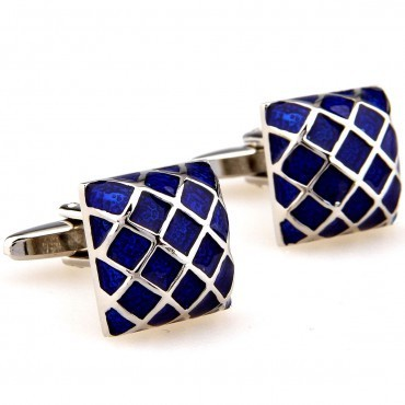 SQUARE SHAPED GEOMETRIC DESIGN CUFFLINK , DARK BLUE