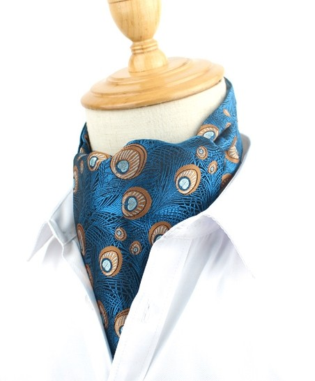 Blue Peacock Design Cravat