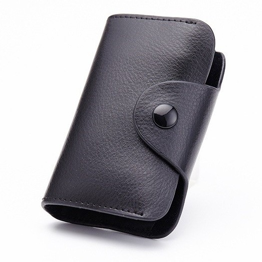 Genuine Black Leather Credit Card Holder