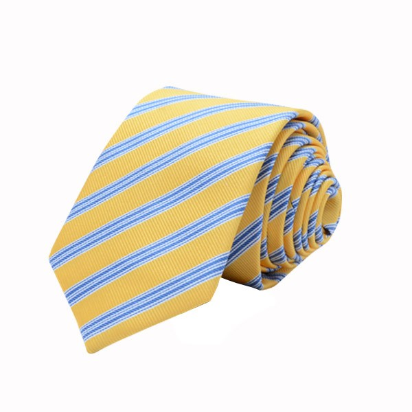 Regimental Stripe, Yellow/Blue, Including Pocket Square