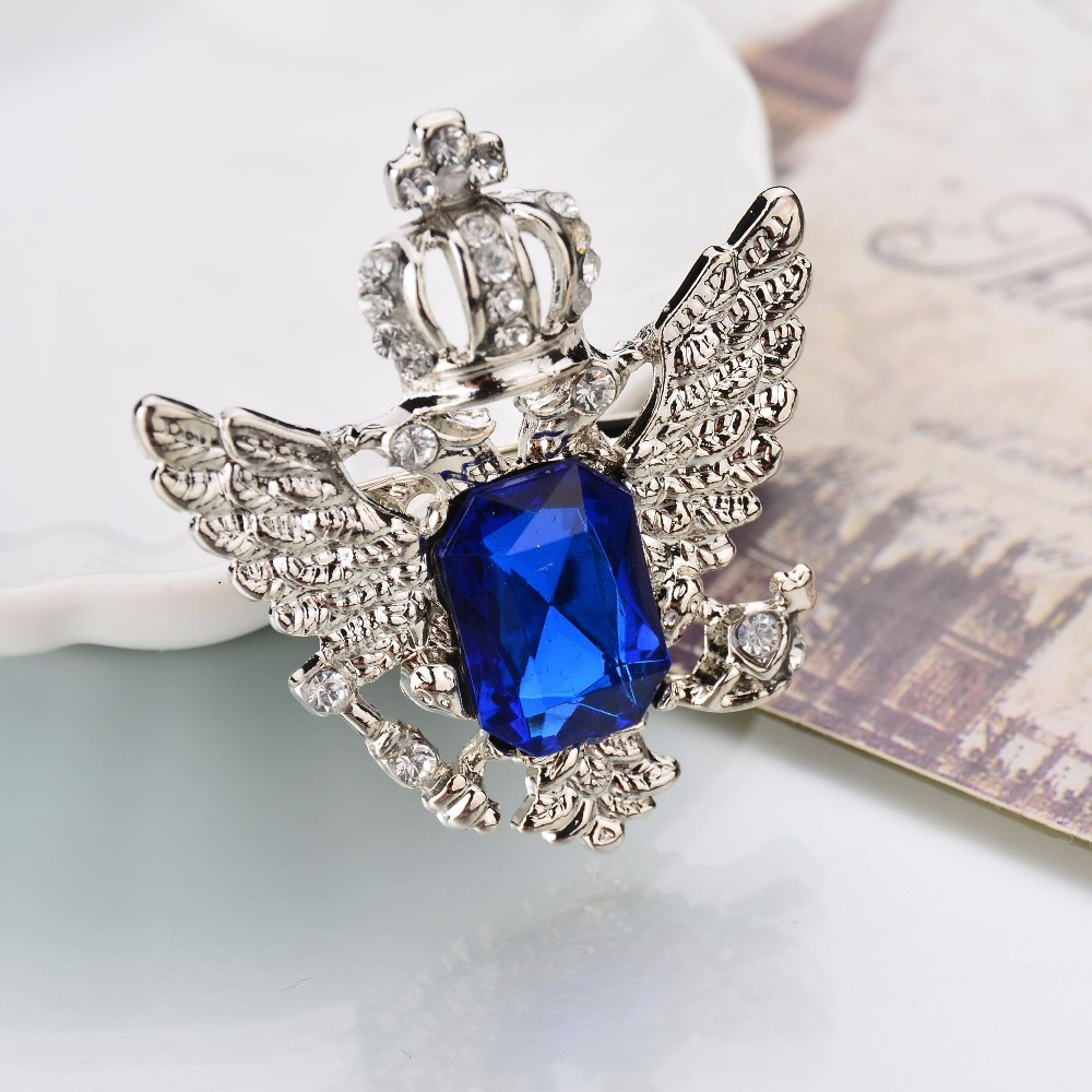 SILVER ROYAL BLUE  CROWN BROOCH